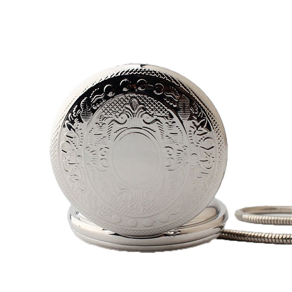 Zxcvlina Classic Smooth Exquisite Silvery Pocket Watch Men Women Creative Mechanical Pocket Watch with Chain for Birthday Gift Suitable for Gift Giving by Zxcvlina (Image #2)