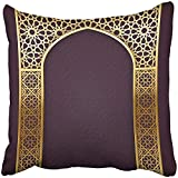 Throw Pillow Cover Square 18x18 Inches Arabesque Backgroud with Golden Arch with Arabic Pattern 10 Contains Transparency Arabian Gold Eid Polyester Decor Hidden Zipper Print On Pillowcases
