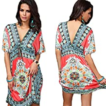 CA Apparelsales Womens Vintage Tunic V-neck Dress Beach Cover-up