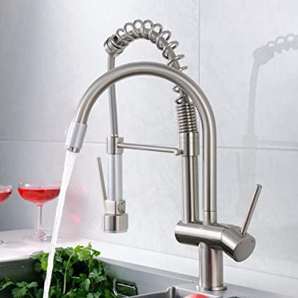 FLG Commercial Style Spring Single Handle Pull Down Kitchen Faucet With  Sprayer,Pre Rinse