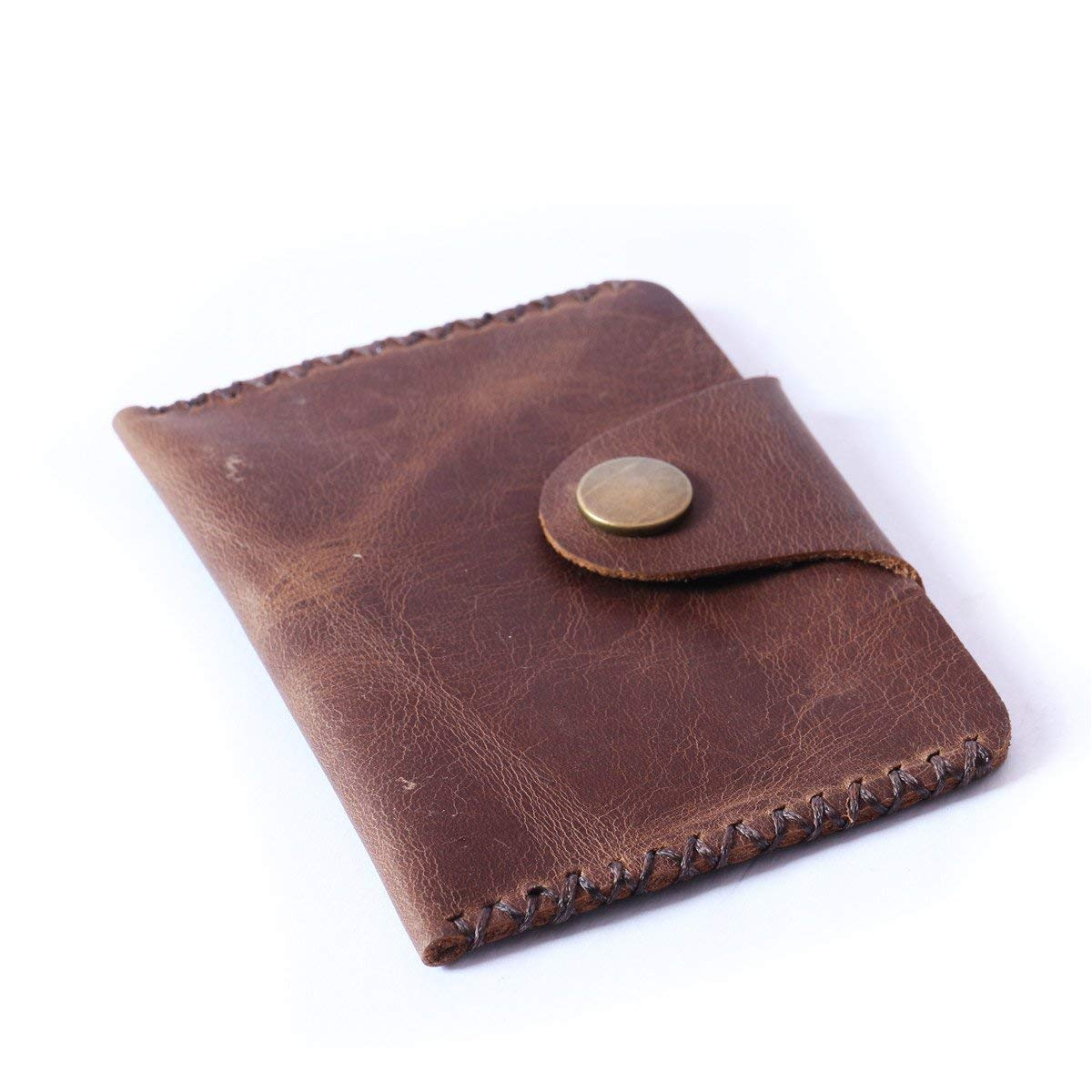 Card Case Wallet Handmade Thin Front Pocket Genuine Leather Card Holder for men women