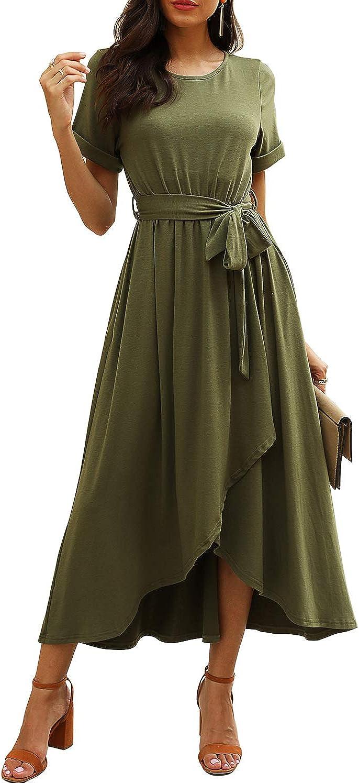 Qearal Women Fall Short//3//4 Sleeve Belted Dress Elastic Waist Slit Long Maxi Dress