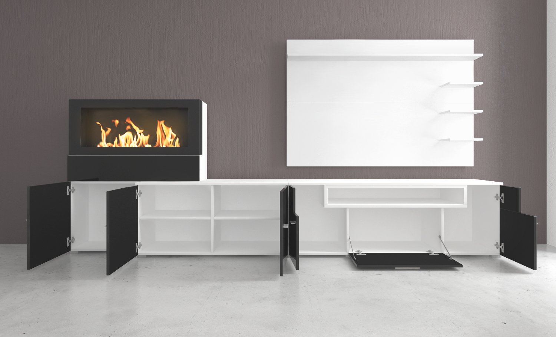 selectionhome mueble saln comedor con chimenea de bioetanol acabado blanco mate y blanco brillo lacado medidas 290 x 170 x 45 cm de fondo amazones - Chimenea Bioetanol