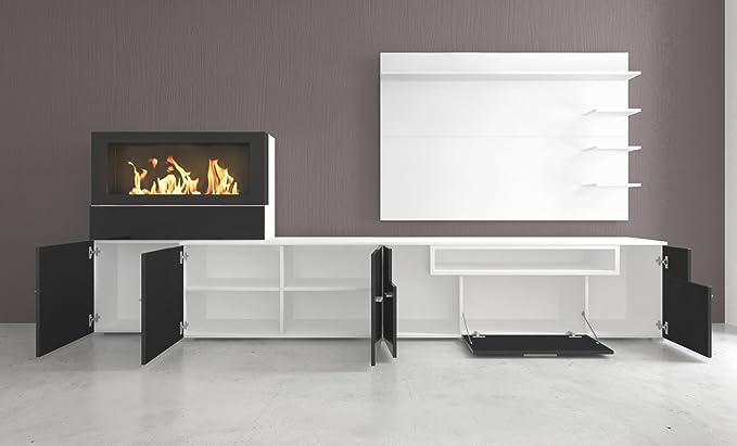 SelectionHome - Mueble salón Comedor con Chimenea de bioetanol, Acabado Blanco Mate y Negro Brillo Lacado, Medidas: 290 x 170 x 45 cm de Fondo: Amazon.es: ...