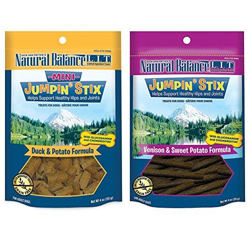 Natural Balance L.I.T. Limited Ingredient Treats Jumpin' Stix Dog Treats Variety Pack - 4 Ounces - 2 Flavors - Duck & Potato and Venison & Sweet (Variety Stix)