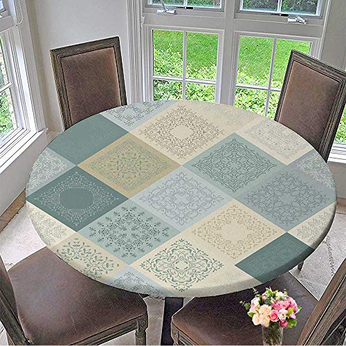 Mikihome Premium Tablecloth Seamless Abstract Pattern Patchwork Frame of Trendy Colored Floral Flower Tiles Everyday Use 47.5