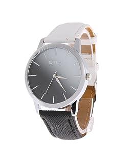 Prosperveil Gradient Color Embossed Leather Belt Women Quartz Watch(White Black)