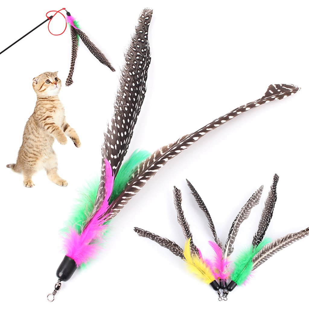 6 Pack Colorful Feather Refills Cat Toys Teaser Stick Replacement Wand Teaser Cat Toy Random Color Zhi Jin