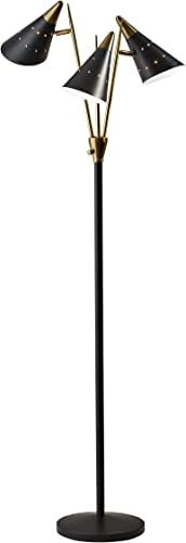 Adesso Home 3249-01 Transitional Three Light Floor Lamp from Nadine Collection Finish
