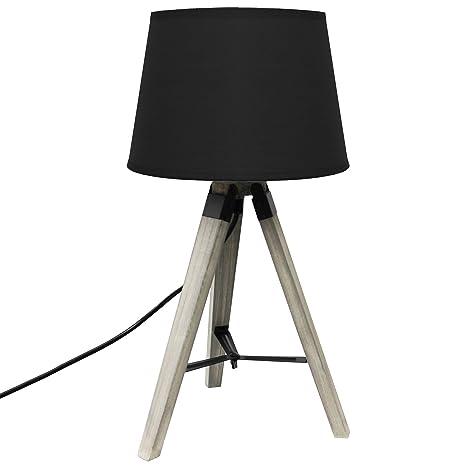 Tres beinige lámpara de pie con negras textilschirm E27 ...