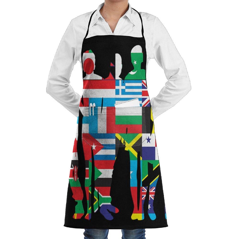 Huitong Shengshi HTSS National Flag Man of the Worldユニセックス男性女性シェフエプロンポケット付きベーカリーサーバウェイトレス職人によるホームキッチン料理   B07FTM3TNT