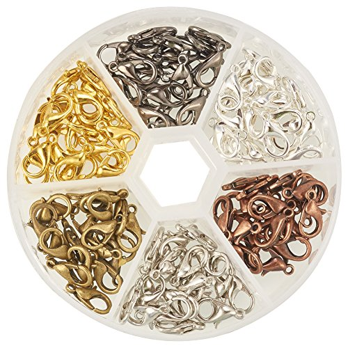 Pandahall 1 Box 120PCS 6 Color Zinc Alloy Lobster Claw Clasps Nickel Free (12x7mm) (7 Mm Lobster)