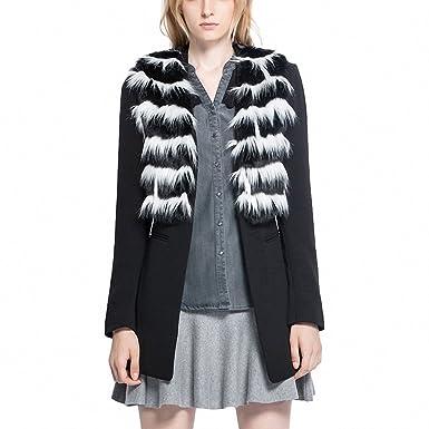 Women Excellent Quality Elegant Fashion Blazer Jacket with faux Fur Ladies  Vogue Coat Trench Overcoat Black