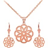 Polished 14k Rose Gold Celtic Knot Round Flower Necklace and Dangle Earrings