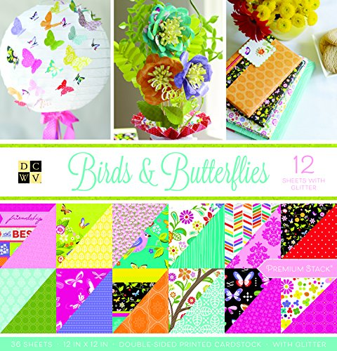 "DCWV Card Stock 12""X12"" Birds and Butterflies Premium Printed Stack"