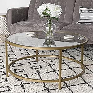 Best Choice Products 36in Modern Round Tempered Glass Accent Side Coffee Table for Living Room, Dining Room, Tea, Home Décor w/Satin Gold Trim, Metal Frame, Non-Marring Foot Caps – White/Bronze Gold