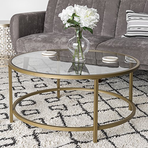 Best Choice Products 36in Round Tempered Glass Coffee Table w/Satin Gold Trim for Home, Living Room, Dining Room (Contemporary Glass Table Coffee)