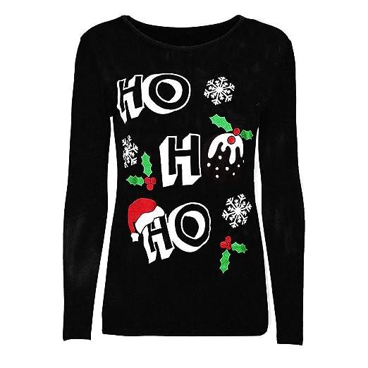 Women Hoodies Loose Blouse Merry Christmas Tops Long Sleeve T-Shirt (S,Black