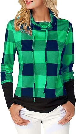 Blusas Mujer Manga Larga High Collar A Cuadros Camisas Primavera Otoño Elegante Vintage Casuales Clásico Moda Clásica Camisa De Leñador Tops Camisas Chicos: Amazon.es: Ropa y accesorios