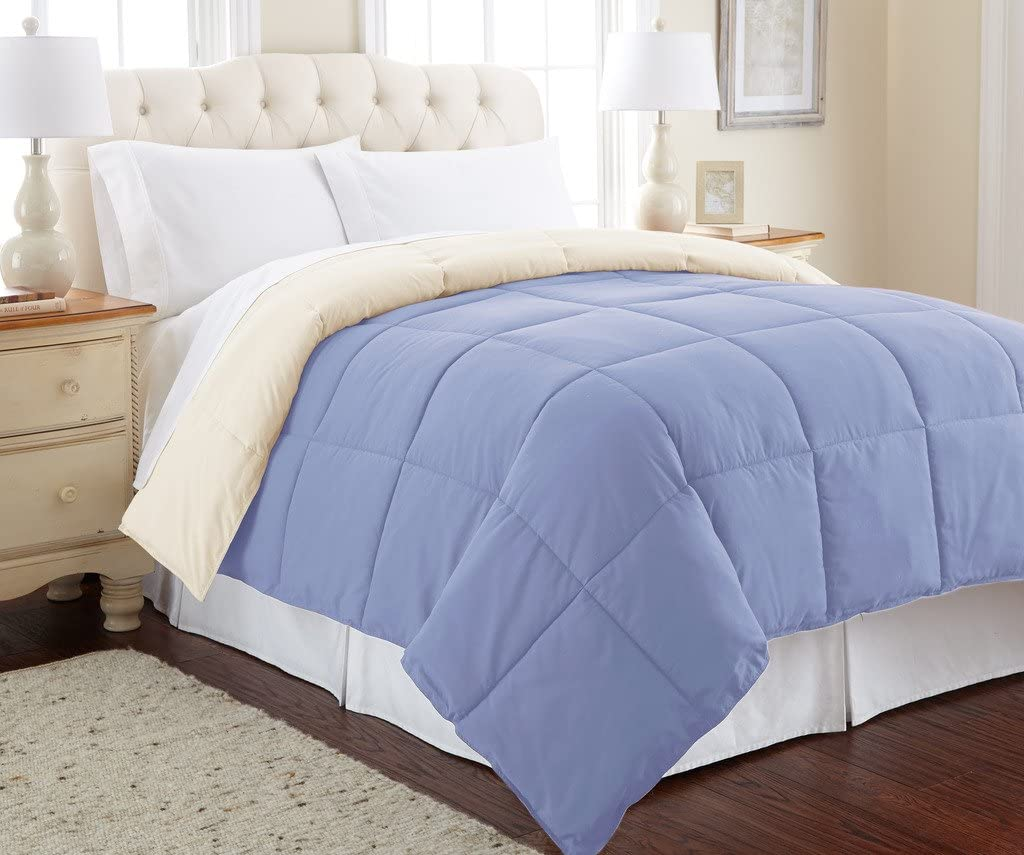 Amrapur Overseas Goose Down Alternative Microfiber Quilted Reversible Comforter / Duvet Insert - Ultra Soft Hypoallergenic Bedding - Medium Warmth for All Seasons - [King, Blue/Cream]