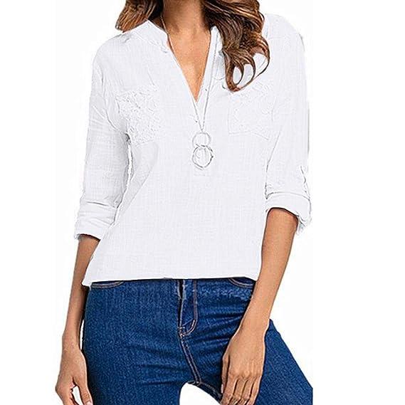 STRIR Camisas Mujer, 2018 Nuevo Blusas para Mujer Vaquera Sexy lino Tops Camisetas Mujer Cremallera