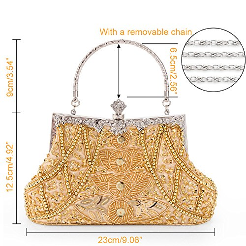 1a Elegant Classic Shoulder Evening Purse Gold Luxurious Handbag Bag Bag Clutch Women aPR6xwqZZ