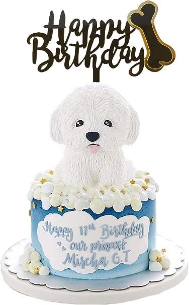 Amazing Amazon Com Ainuioi Dog Birthday Cake Topper Dog Bone Happy Funny Birthday Cards Online Alyptdamsfinfo