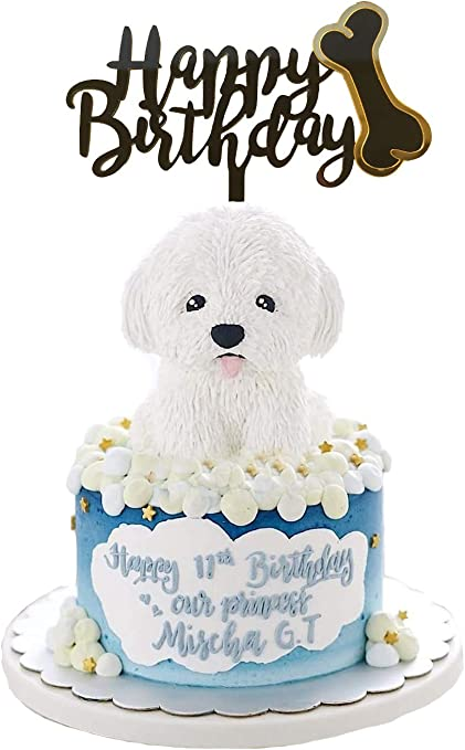 Admirable Amazon Com Ainuioi Dog Birthday Cake Topper Dog Bone Happy Birthday Cards Printable Giouspongecafe Filternl
