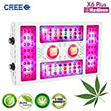 LED grow light CREE dimmable led grow light COB full spectrum for indoor plants veg and flower 12-band UV&IR MaxBloom high yield 600W CREE X6 Plus led grow light for marijuana (the 8th Generation)