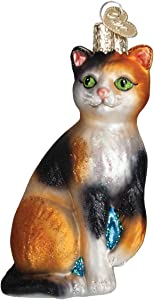 Old World Christmas Lover Collection Glass Blown Ornaments for Christmas Tree Calico Cat