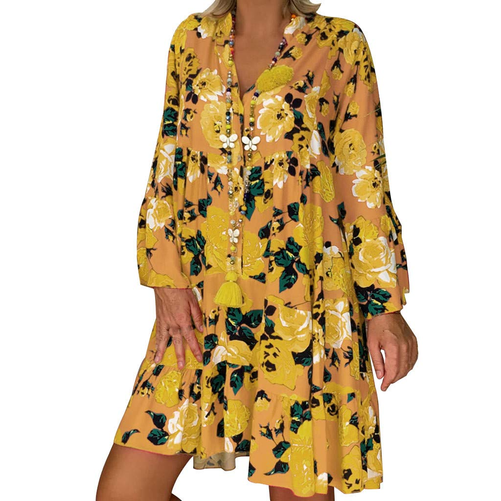 Women Loose Shirt Dress Casual Autumn Button V Neck Long Sleeve Floral Vintage Folk Style Plus Size Baggy Dresses Yellow by Franterd