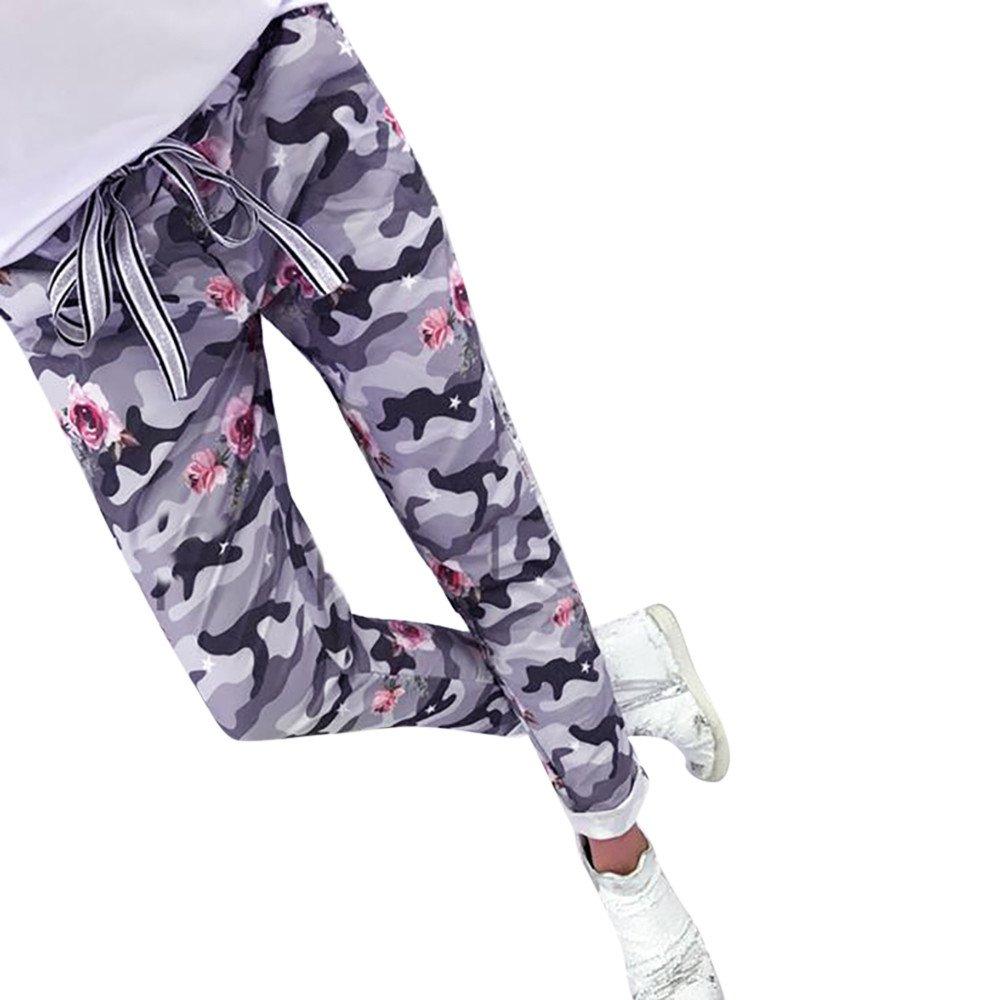 UONQD Women Sequins Camouflage Print Bandage Patchwork Long Pants Trousers(X-Large,Gray)