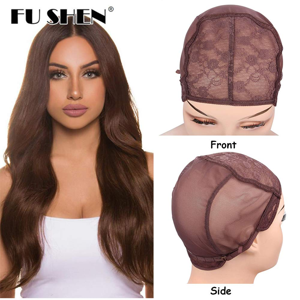 FU SHEN Extra Large Wig Cap, Brown Double Lace Wig Caps for Making Wigs with Adjustable Straps and Combs, Glueless Wig Cap for Big Head for Women(Brown, 2 Pcs XL) by FU SHEN