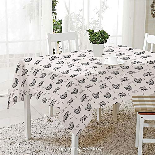BeeMeng Large Family Picnic Tablecloth,Easy to Carry Outdoors,Yoga,Bears with Various Meditation Poses Monochrome Asian Culture Inspirations Posture Decorative,Black White,59 x 104 inches