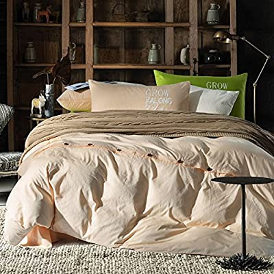 DACHUI Cotton bed sheets - 1800 beds fade, stain resistant - Hypoallergenic - 4 units (luxury green simply - color) - M Queen 1.