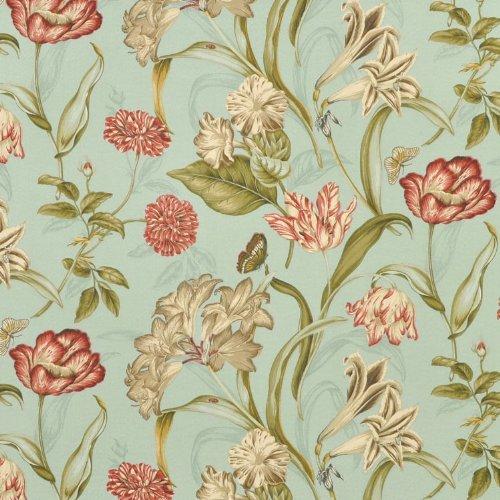 (WAVERLY 0347145 Sun N Shade Somerset Botanic Mist Outdoor Fabric by The Yard, )