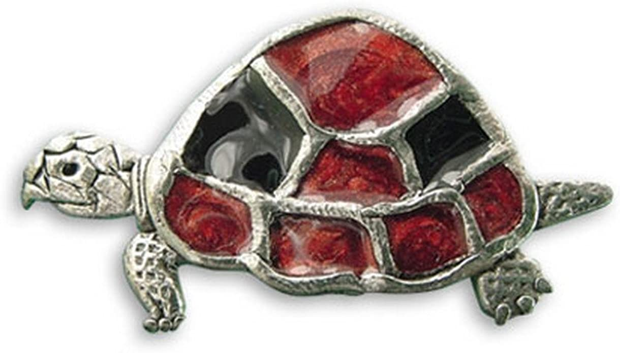 Amazon Com The Magic Zoo Enamel Red Turtle Pin Brooches And Pins Jewelry