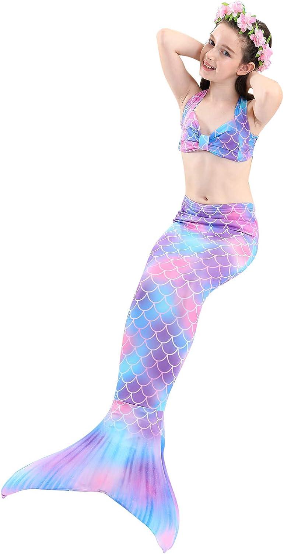 Fishkidtail Ragazze Coda da Sirena per Nuotare Bambina Costume da Bagno Incluso 5PCS Bikini e Fiore Garland Archetto