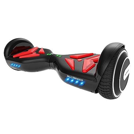 M MEGAWHEELS Scooter-Patinete Eléctrico Hoverboard, 6.5 Pulgadas con Bluetooth - Motor eléctrico 500w, Velocidad 10-12 Km/h.(Black Red)