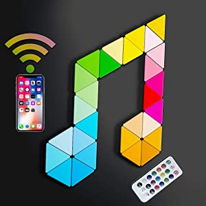 Koozam Smart Wall LED Light Panels | Create Customized Art Wall Decor & Watch As The Sound Activated Tiles Change Color with Music | WiFi Lighting Lamp Kit Compatible with Alexa Google Home