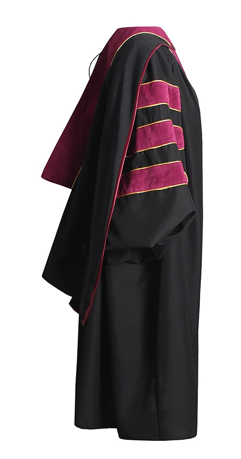 GraduationForYou Deluxe Doctoral Gown Hood and 8-Sided Tam Package