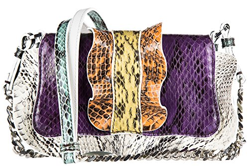 Fendi sac à l'épaule femme en cuir micro baguette elaphe multi waves violet