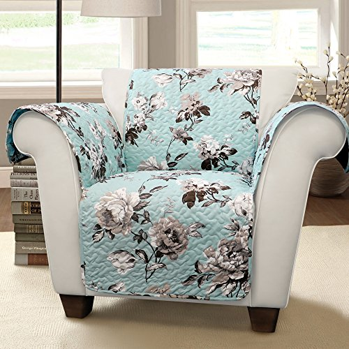 Lush Decor Tania Furniture Protector-Floral Garden Flower Pattern Armchair Cover-Blue and Gray, Blue & Gray from Lush Decor