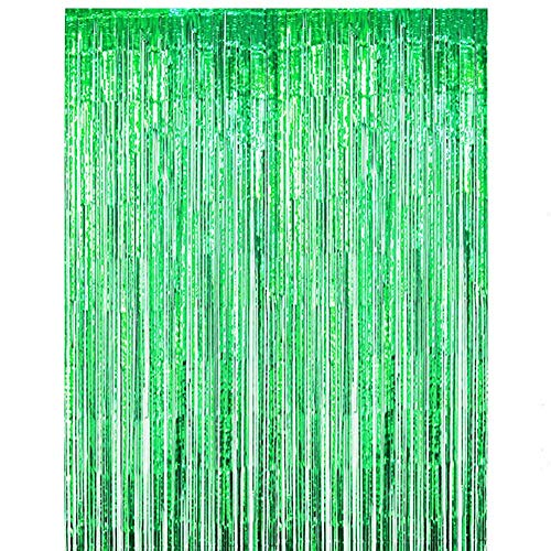 ONUPGO 3.28 ft x 9.8 ft Green Foil Fringe Curtain Metallic Tinsel Backdrop Curtain Photo Booth Props Perfect for Birthday Wedding Baby Shower Christmas Holiday Party Decorations