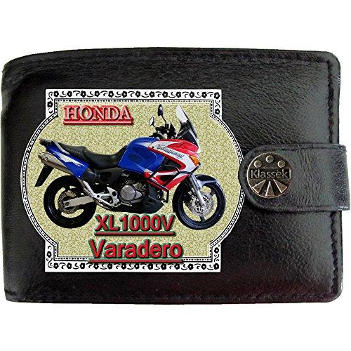 HONDA XL1000V VARADERO Blau Motorrad Zubehör Bike Klassek Herren Geldbörse Portemonnaie Brieftasche aus echtem Leder schwarz