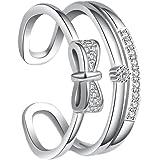 Hosaire Bague Femme romantique arc de forme brillant strass Bague réglable bijoux Cadeau de l'amour