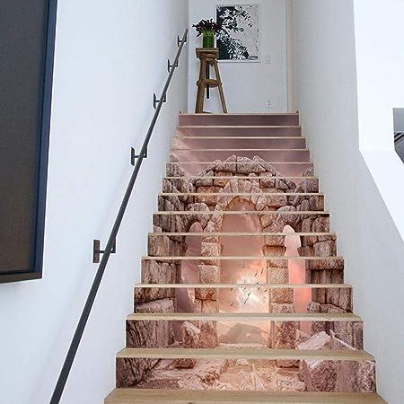 QJKai Creativo 3D Escalera Pegatina Vintage Piedra Columna DIY Restaurado Escalera Pegatina Autoadhesivo Etiqueta de La Pared Impermeable: Amazon.es: Hogar
