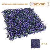 Sunshades Depot Sunshades Depot Artificial Lavender Fence Privacy Screen Evergreen Hedge Panels Fake Plant Wall 20''X20'' Inch (12pcs)