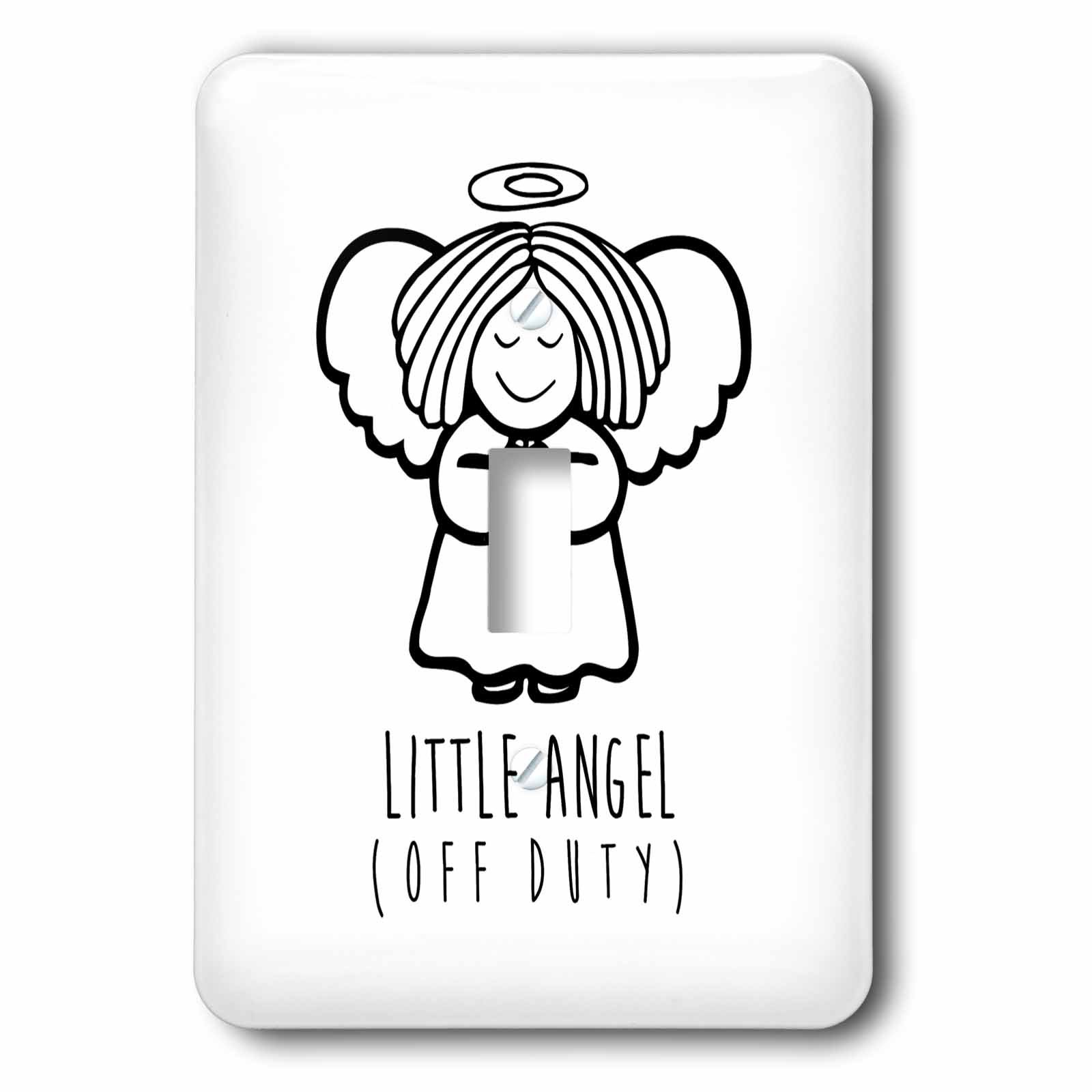 3dRose Russ Billington Designs - Little Angel- Off Duty- Cute Angel drawing in Black and White - Light Switch Covers - single toggle switch (lsp_261898_1)