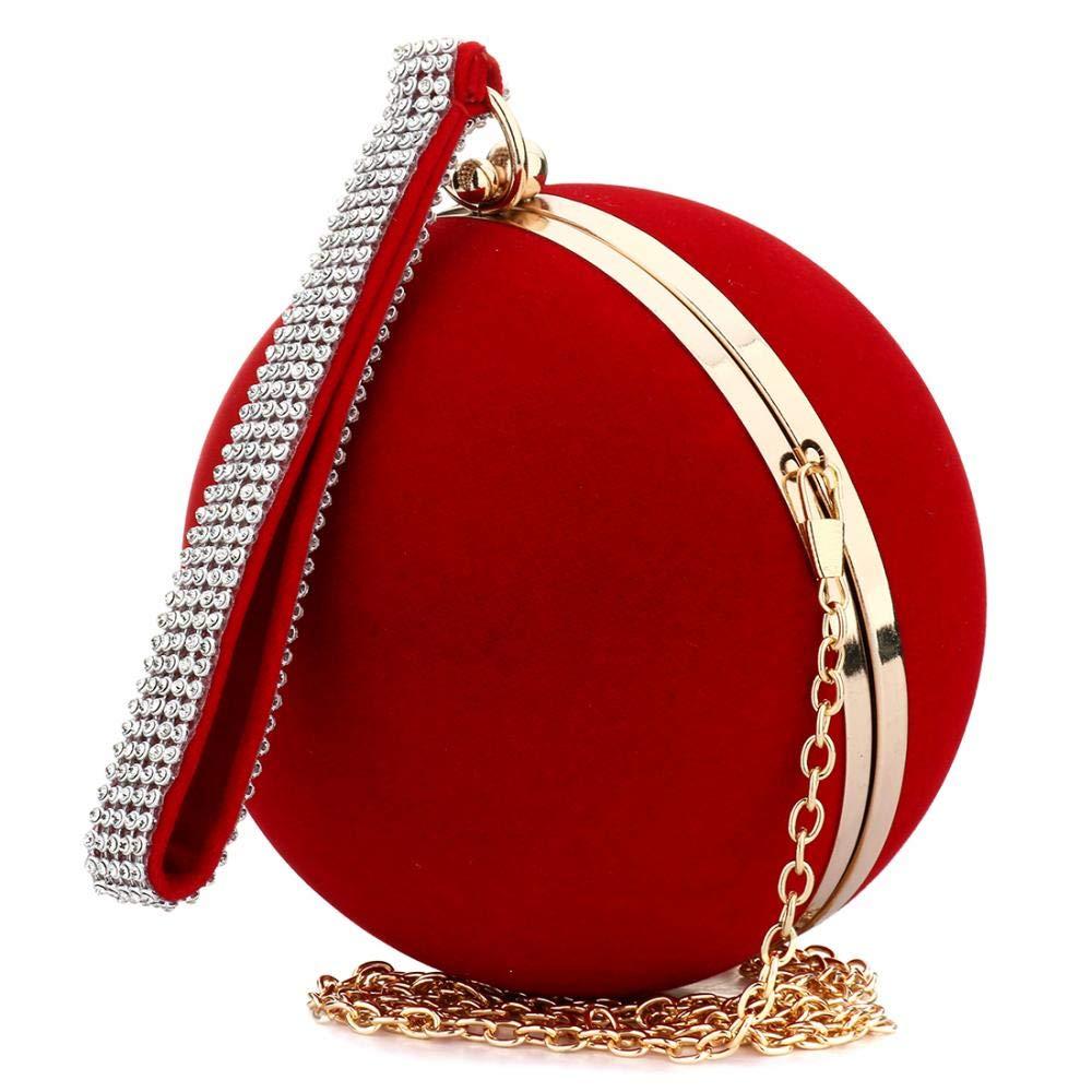 Red Evening Bag Round Clutch Purse for Wedding Party Exquisite Handbag Shoulder Bag Evening Bag for Women Ladies Girls